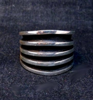 Image 0 of Contemporary Native American Navajo Sterling Silver Ring sz10, Tom Hawk