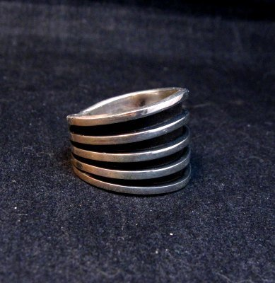 Image 1 of Contemporary Native American Navajo Sterling Silver Ring sz10, Tom Hawk
