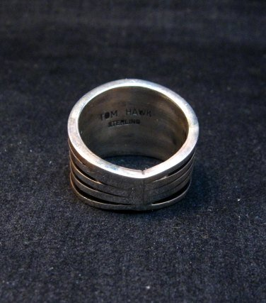 Image 4 of Contemporary Native American Navajo Sterling Silver Ring sz10, Tom Hawk
