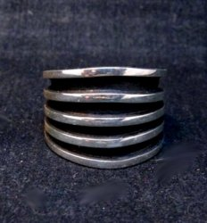 Contemporary Native American Navajo Sterling Silver Ring sz10, Tom Hawk