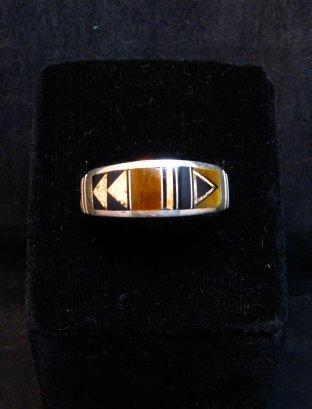 Image 0 of Native American Navajo Multigem Inlay Band Ring Sz12-1/4, Rick Tolino