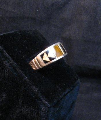 Image 1 of Native American Navajo Multigem Inlay Band Ring Sz12-1/4, Rick Tolino
