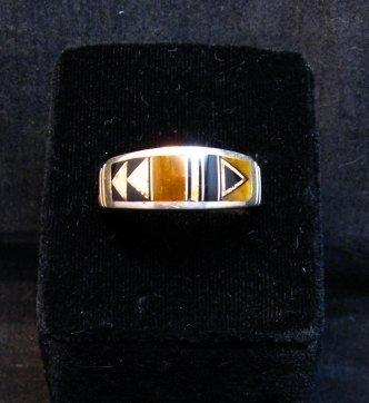 Image 4 of Native American Navajo Multigem Inlay Band Ring Sz12-1/4, Rick Tolino