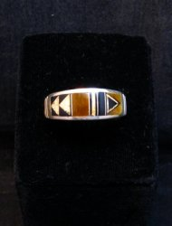 Native American Navajo Multigem Inlay Band Ring Sz12-1/4, Rick Tolino
