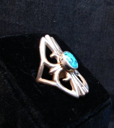 Image 1 of Mildred Parkhurst Navajo Sandcast Silver Turquoise Ring sz7-1/2