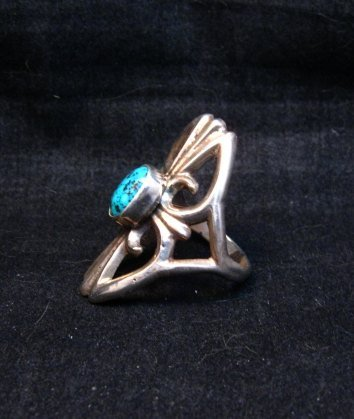 Image 2 of Mildred Parkhurst Navajo Sandcast Silver Turquoise Ring sz7-1/2