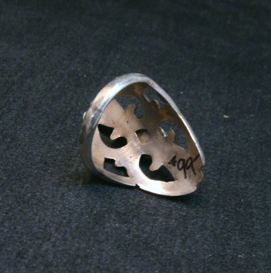 Image 4 of Mildred Parkhurst Navajo Sandcast Silver Turquoise Ring sz7-1/2