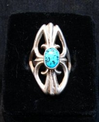 Mildred Parkhurst Navajo Sandcast Silver Turquoise Ring sz7-1/2