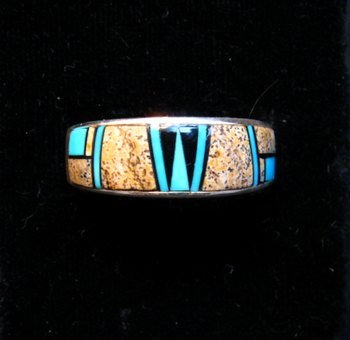 Image 0 of Navajo Albert Tapaha Multigem Inlay Band Style Ring Sz11-3/4