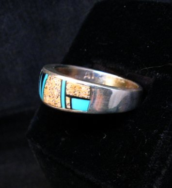 Image 1 of Navajo Albert Tapaha Multigem Inlay Band Style Ring Sz11-3/4
