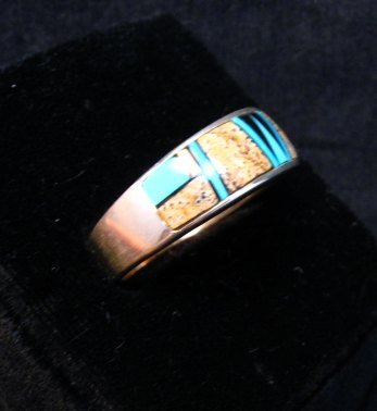 Image 2 of Navajo Albert Tapaha Multigem Inlay Band Style Ring Sz11-3/4