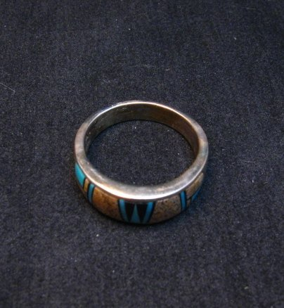 Image 3 of Navajo Albert Tapaha Multigem Inlay Band Style Ring Sz11-3/4