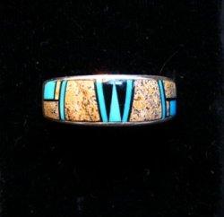 Navajo Albert Tapaha Multigem Inlay Band Style Ring Sz11-3/4