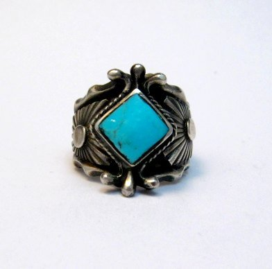 Image 0 of Navajo Native American Turquoise Silver Ring - Genevieve Frank sz7-1/2