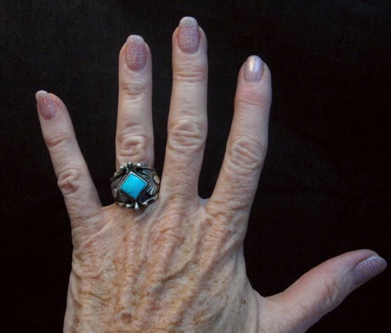 Image 2 of Navajo Native American Turquoise Silver Ring - Genevieve Frank sz7-1/2