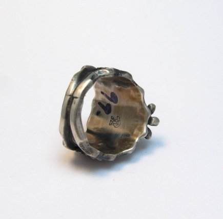 Image 4 of Navajo Native American Turquoise Silver Ring - Genevieve Frank sz7-1/2