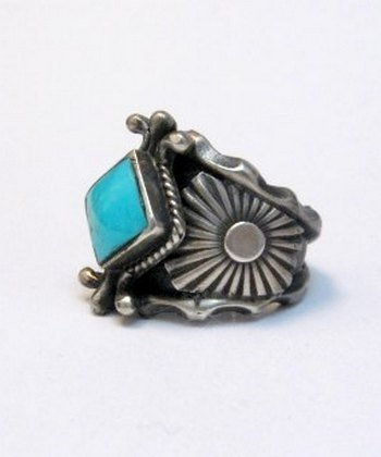 Image 1 of Navajo Native American Turquoise Silver Ring - Genevieve Frank sz7-1/2
