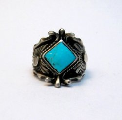 Navajo Native American Turquoise Silver Ring - Genevieve Frank sz7-1/2