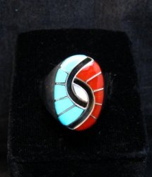 Amy Quandelacy Zuni Turquoise Coral MOP Hummingbird Ring Sz11