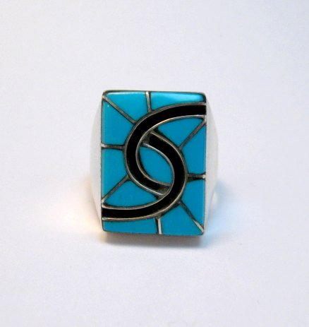 Image 4 of Amy Quandelacy Zuni Turquoise Hummingbird Sterling Silver Ring sz10-3/4