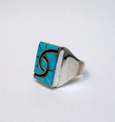 Image 1 of Amy Quandelacy Zuni Turquoise Hummingbird Sterling Silver Ring sz10-3/4