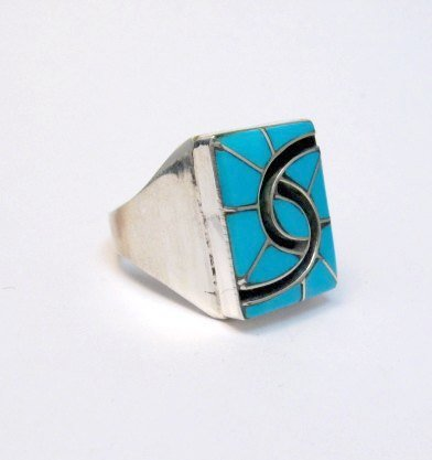 Image 2 of Amy Quandelacy Zuni Turquoise Hummingbird Sterling Silver Ring sz10-3/4
