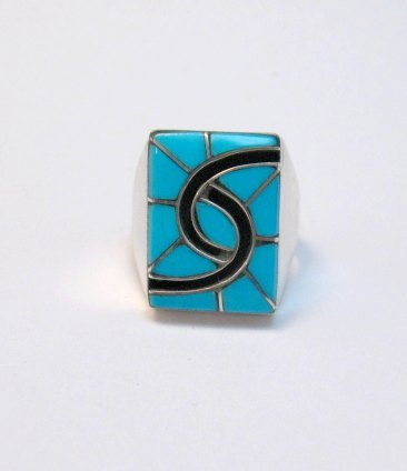 Image 0 of Amy Quandelacy Zuni Turquoise Hummingbird Sterling Silver Ring sz10-3/4