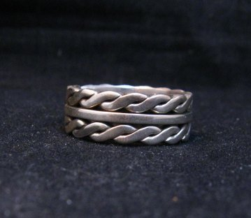 Image 0 of Native American Navajo Sterling Silver Twisted Rope Ring sz9-3/4, Tom Hawk