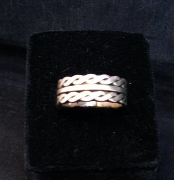 Image 2 of Native American Navajo Sterling Silver Twisted Rope Ring sz9-3/4, Tom Hawk