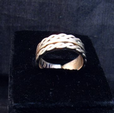Image 3 of Native American Navajo Sterling Silver Twisted Rope Ring sz9-3/4, Tom Hawk