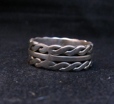 Image 4 of Native American Navajo Sterling Silver Twisted Rope Ring sz9-3/4, Tom Hawk