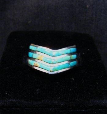 Image 1 of Andrew Enrico ~ Zuni ~ Turquoise Inlay Chevron Ring sz6-1/2