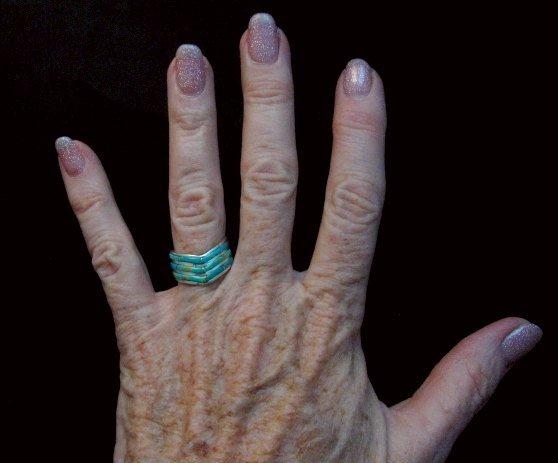 Image 3 of Andrew Enrico ~ Zuni ~ Turquoise Inlay Chevron Ring sz6-1/2