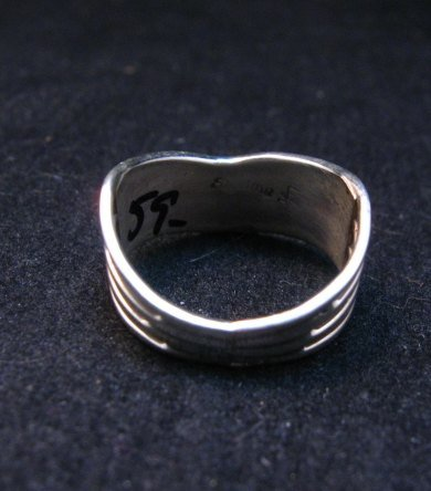 Image 4 of Andrew Enrico ~ Zuni ~ Turquoise Inlay Chevron Ring sz6-1/2