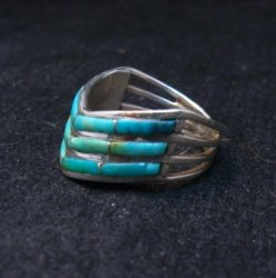 Andrew Enrico ~ Zuni ~ Turquoise Inlay Chevron Ring sz6-1/2