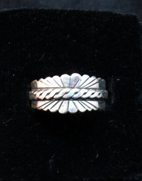 Image 0 of Native American Navajo Sterling Silver Band Ring sz11, Florence Tahe