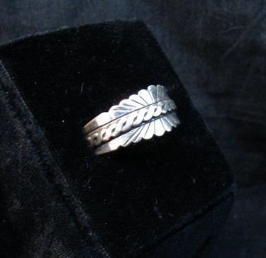 Image 1 of Native American Navajo Sterling Silver Band Ring sz11, Florence Tahe
