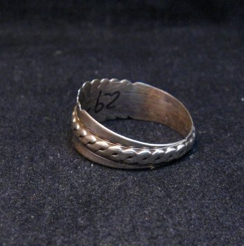 Image 2 of Native American Navajo Sterling Silver Band Ring sz11, Florence Tahe