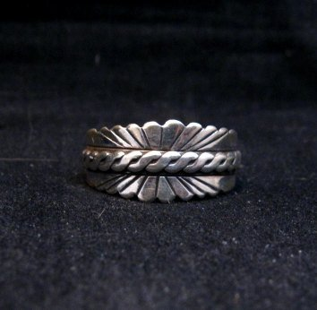 Image 4 of Native American Navajo Sterling Silver Band Ring sz11, Florence Tahe