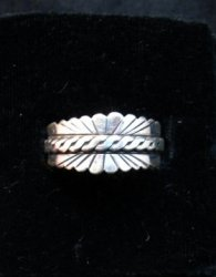 Native American Navajo Sterling Silver Band Ring sz11, Florence Tahe