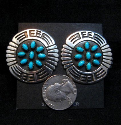 Image 1 of Big Rosco Scott Sleeping Beauty Turquoise Sterling Silver Overlay Earrings