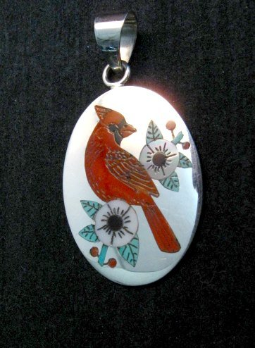 Image 0 of Zuni Native American Inlaid Cardinal Pendant Ruddell and Nancy Laconsello,