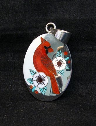 Image 1 of Zuni Native American Inlaid Cardinal Pendant Ruddell and Nancy Laconsello,