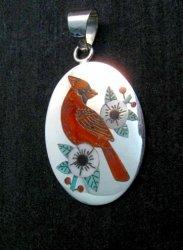 Zuni Native American Inlaid Cardinal Pendant Ruddell and Nancy Laconsello,