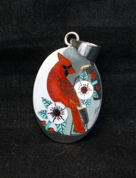 Zuni Native American Inlaid Cardinal Pendant Ruddell and Nancy Laconsello,