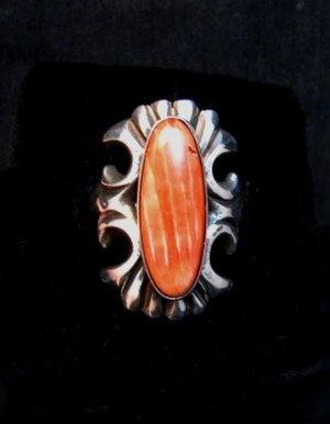Image 2 of Navajo Sandcast Silver Spiny Oyster Ring sz7-1/2 Carol & Wilson Begay