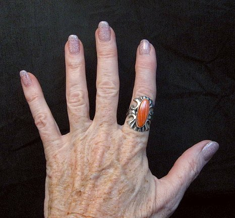 Image 1 of Navajo Sandcast Silver Spiny Oyster Ring sz7-1/2 Carol & Wilson Begay