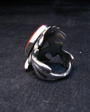 Image 4 of Navajo Sandcast Silver Spiny Oyster Ring sz7-1/2 Carol & Wilson Begay
