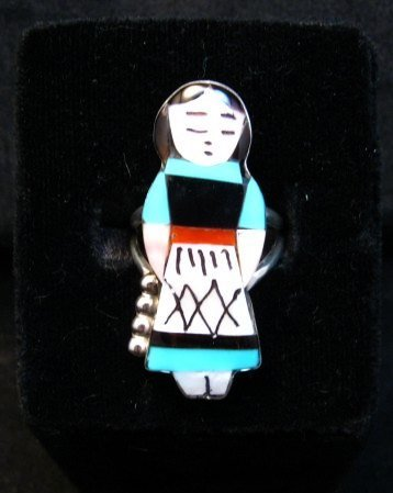 Image 0 of Zuni Indian Maiden Turquoise Inlay Silver Ring sz7-1/2 by Joyce Waseta