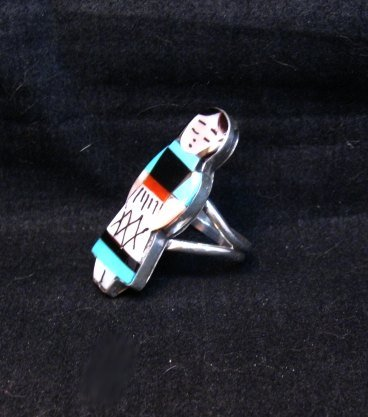 Image 1 of Zuni Indian Maiden Turquoise Inlay Silver Ring sz7-1/2 by Joyce Waseta